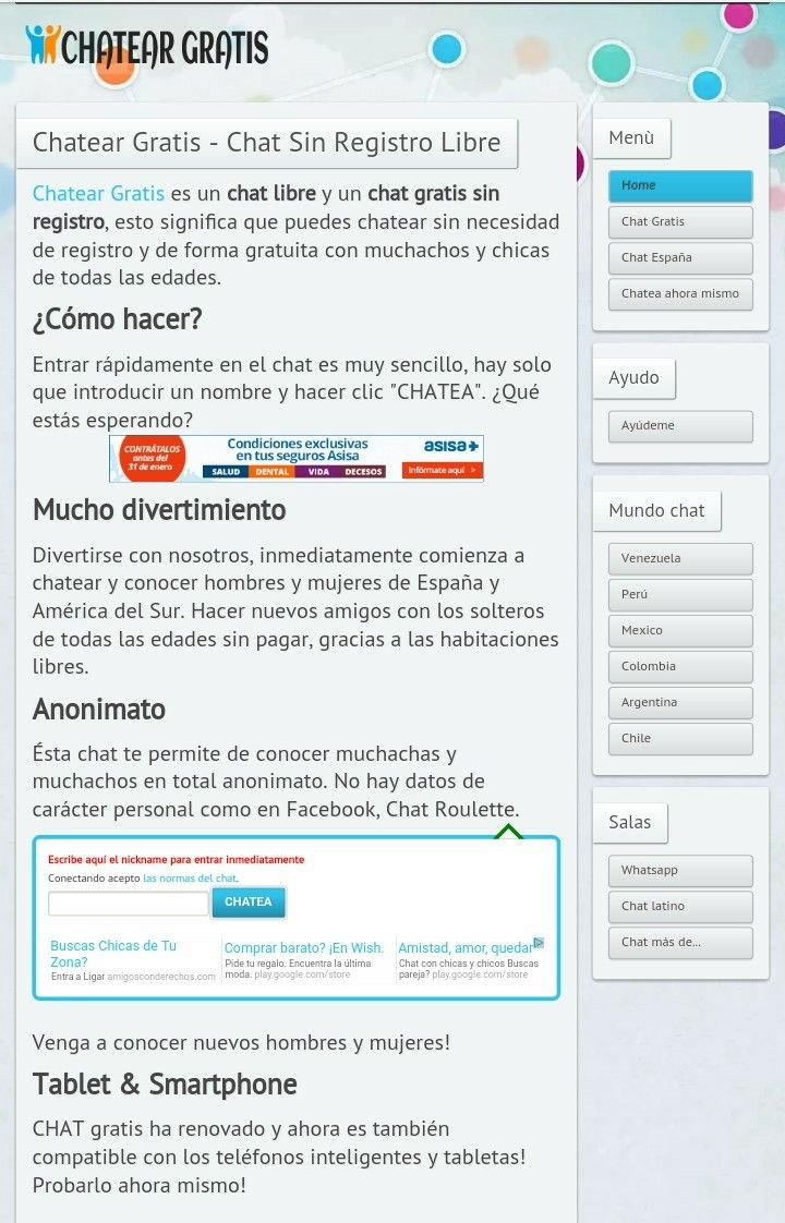 chatear gratis sin registro espana