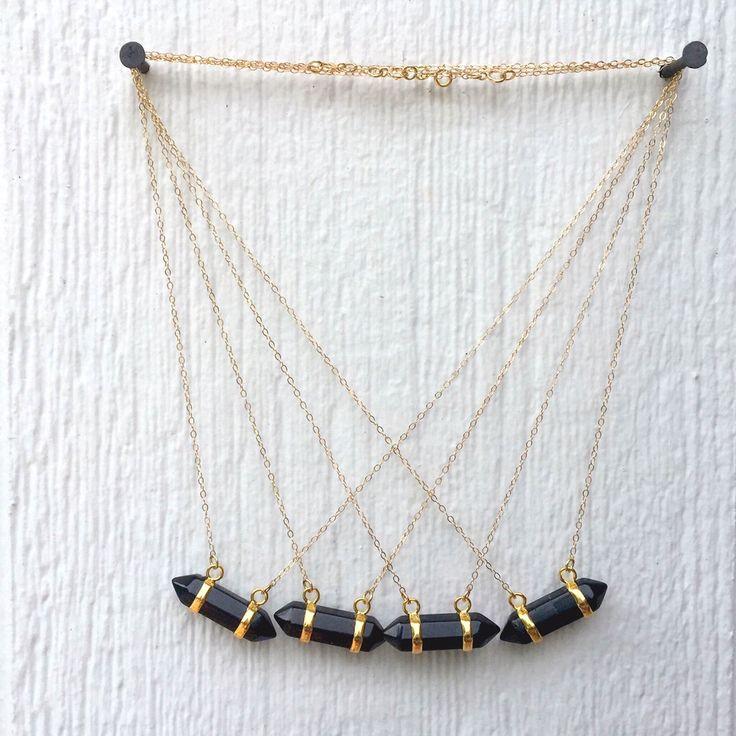 Black Onyx Necklace - Black Point Necklace - Onyx Gemstone Jewelry - Spike Necklace - Gold Chain Jewellery - Everyday Jewelry by jewelrybycarmal on Etsy https://www.etsy.com/listing/229640009/black-onyx-necklace-black-point-necklace
