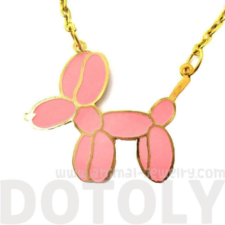 Balloon Dog Shaped Jeff Koons Inspired Animal Pendant Necklace in Pink | Limited Edition | DOTOLY
