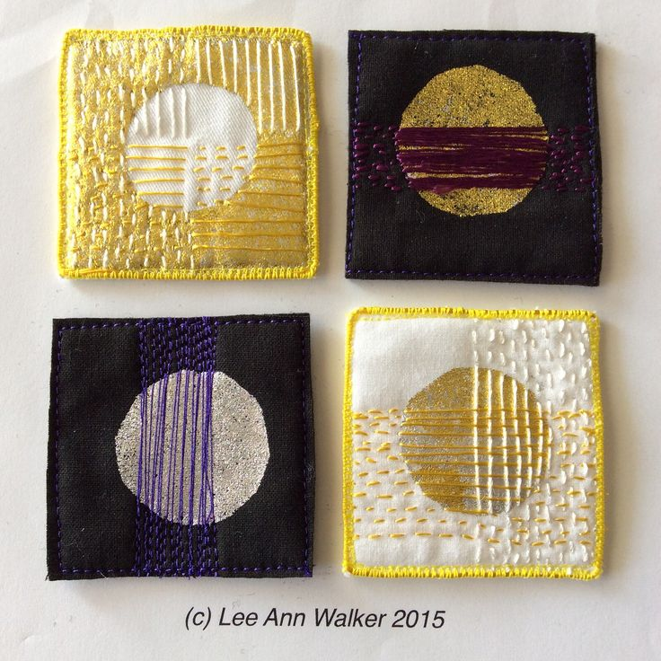 "Lee Ann Walker, 14-2"", 3/21/2015, working with circles, foils and long stitches. I like the hand stitch better than the machine stitch, perhaps because the thread was thicker."