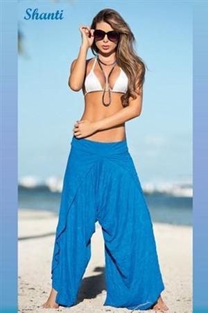 SHANTI Letní volné kalhoty s podprsenkou modro bílé