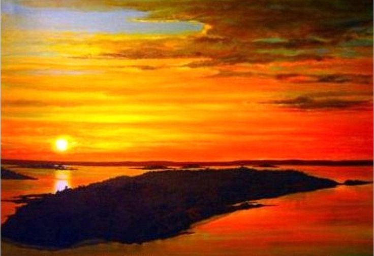 """Island Sunset"" acrylic by Eileen Frost"