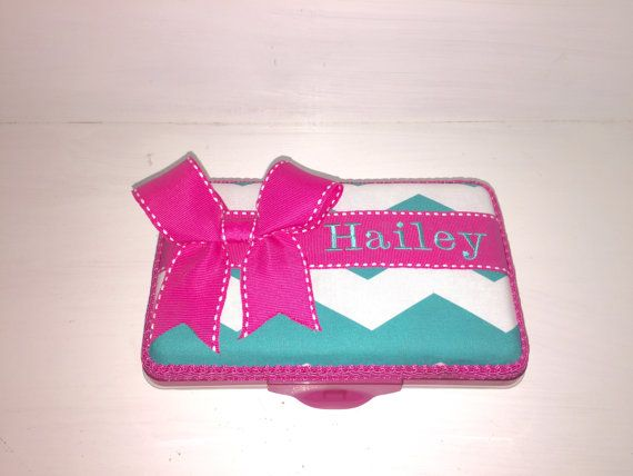 Personalized Teal Chevron Pencil Box/Pencil Case With by CeeJaze