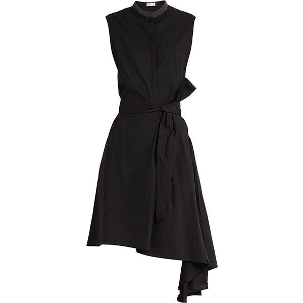 Brunello Cucinelli Asymmetric dress ($1,804) ❤ liked on Polyvore featuring dresses, black, beaded dress, embellished dress, round neck dress, asymmetrical dresses and brunello cucinelli dress