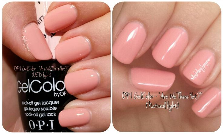 "GelColor by OPI - ""Are We There Yet?"" Pastel. LED light, Natural light. Light candy peach pink"