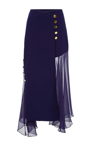 Crossover Skirt With Chiffon Inserts by PRABAL GURUNG for Preorder on Moda Operandi