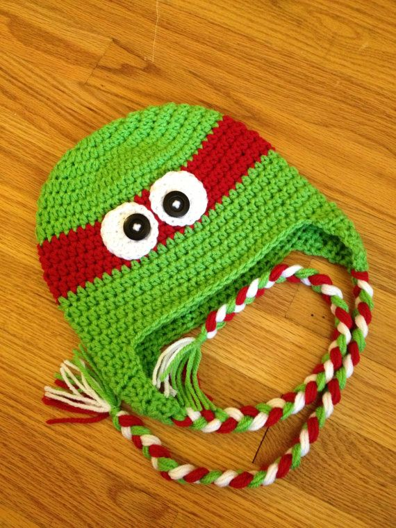 Ninja Turtle Crochet Baby Hat Pattern : Baby Newborn Ninja Turtle Crochet Hat with Braided by ...