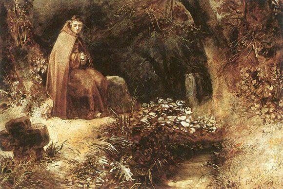 Carl Blechen - Ein Moench im Wald