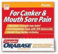 Orabase Paste with 20% Benzocaine - 6 gm by Orabase. $5.99. Orabase by Colgate is a standard for dermatologists and dentists alike looking to bring rapid relief to patients suffering from painful mouth ulcers and canker sores. Conditions such as lichen planus, apthous ulcers, lichen sclerosis et atrophicus, pemphigus, vitamin deficiencies, drug allergies and even chemotherapy treatment can cause deep, painful erosions of the muccosa, gums and tongue. Orabase is a sp...