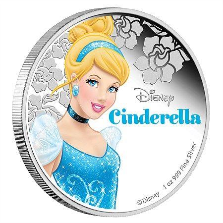 Μικροί Συλλέκτες Νόμισμα για κορίτσια Πριγκίπισσες της Disney - Σταχτοπούτα, 2$ 1oz Ασήμι 999, Niue 2015 Coins Club Greece