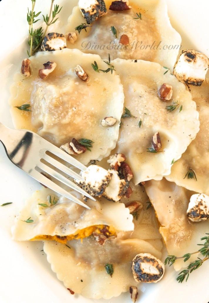 Maple Sweet Potato Ravioli with Toasted Marshmallows & Pecans   Mmm ...