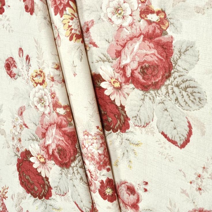 Waverly Norfolk Rose Fabric  Floral Fabric  Decor
