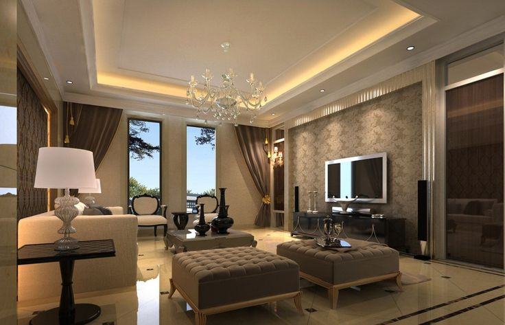 Calming Brown Living Room Interiors On Cream Ceramic Floor Paired With White Table Lamp Also Chandelier Plus White Hidden Lamp On The Ceiling