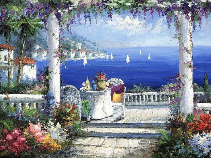 На летней террасе у моря \ художник Sharie Hatchett Bohlmann.