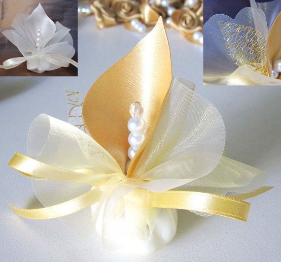 fabric handmade calla lily wedding favors gold or custom table decoration bomboniere