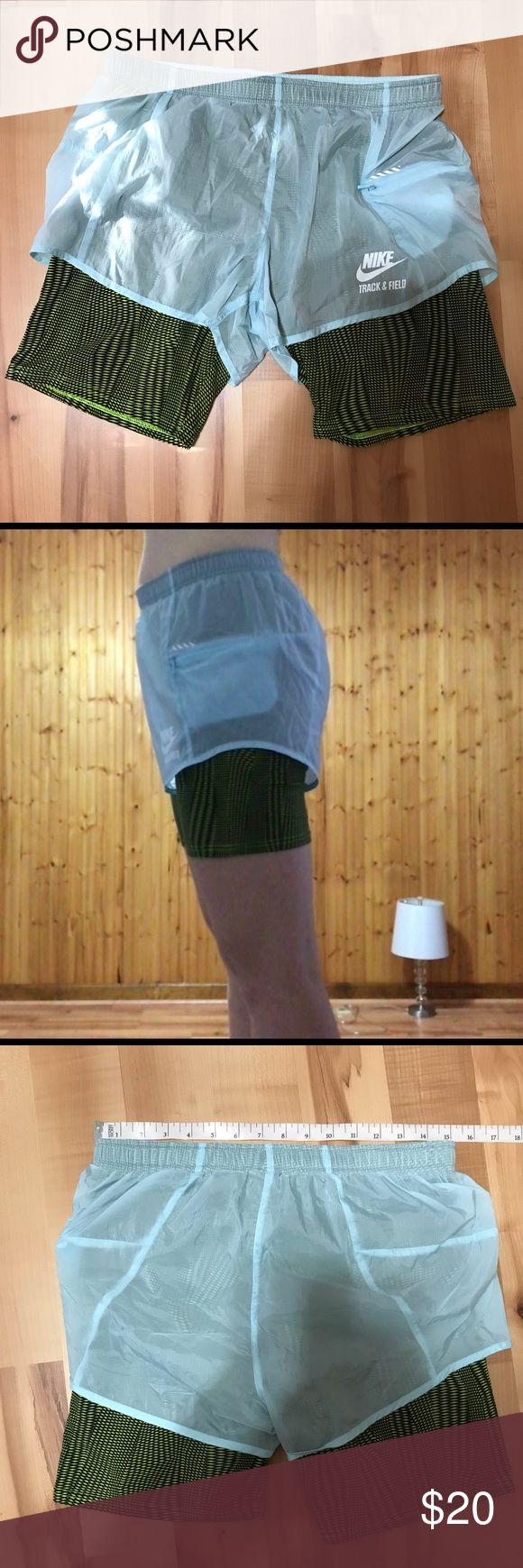 "Nike Track and Field 2-on-1 running shorts Size Medium Waist 15"" Length 14.8…"