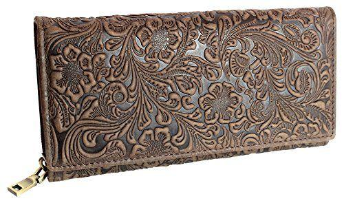 9765c007e2a5fc Designer Damen Echtleder Geldbörse Exclusives Portemonnaie aus geprägtem  Leder Geldbeutel für Frauen Portmonee in 4 Farben