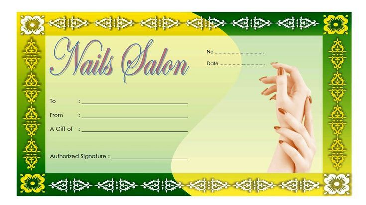 Nail Salon Gift Certificate Design Free 3