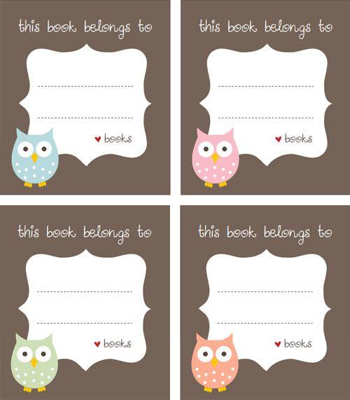 Free Owl bookplates by MyOwlBarn, via Flickr