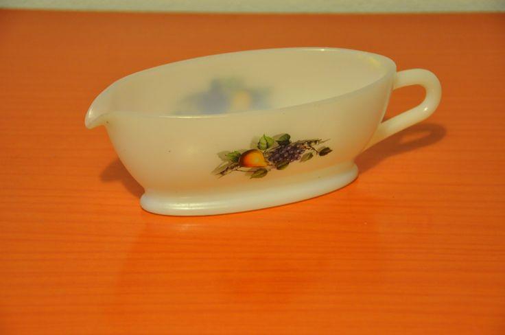 Arcopal gravy boat, sauce server. Fruits de France pattern.