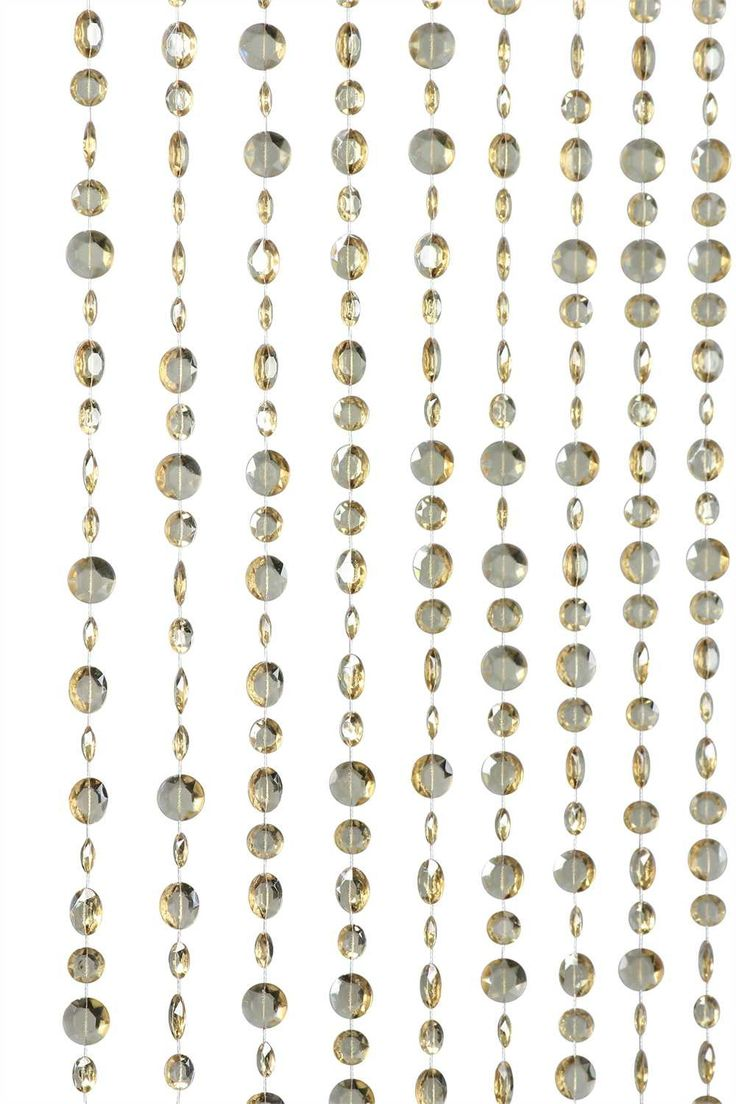 Champagne Color Large Diamond Cut Shapes Beaded Curtain
