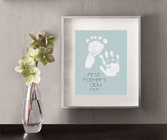 First Father's Day Personalized Art Print Hand and por NikoAndLily