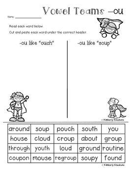 Superheroes: Superheroes Card Sort and Worksheet (-ou Vowel Team /ow/ vs /oo/)