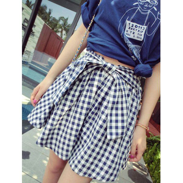 Wholesale Sweet High-Waisted Plaid Lace-Up Mini Skirt For Women (BLUE AND WHITE,ONE SIZE), Skirts - Rosewholesale.com