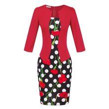 2016 jaro letní šaty Faux dvoudílné Office Plus Velikost Módní evropském stylu Elegantní tužka Šaty pracovní oděv Dámské oblečení (Čína (pevninská část))
