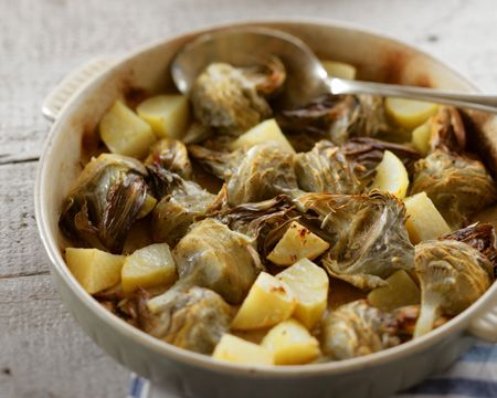 Roasted Artichoke Hearts with Potatoes and Olive Oil