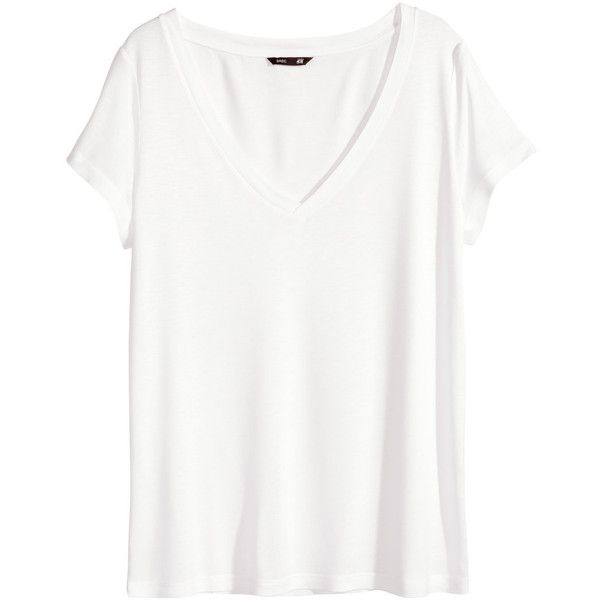 H&M V-neck top ($10) ❤ liked on Polyvore featuring tops, t-shirts, shirts, tees, white, short-sleeve shirt, v neck tee, t shirt, white v neck tee and white shirts