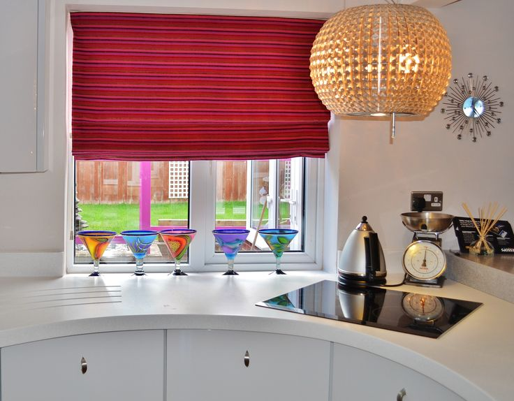 Made to measure kitchen blinds, dash of rich colour :) #blinds #red #kitchen #madetomeasure #interiors #denbydale