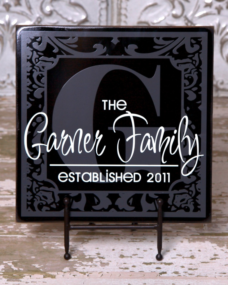 Beautiful square personalized plaque - damask frame, monogram - perfect wedding, anniversary, housewarming gift. $42.00, via Etsy.