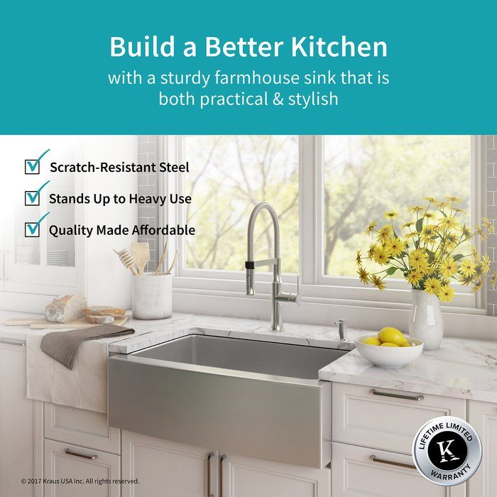 Handmade Series 29 75 X 20 75 Farmhouse Kitchen Sink With Faucet