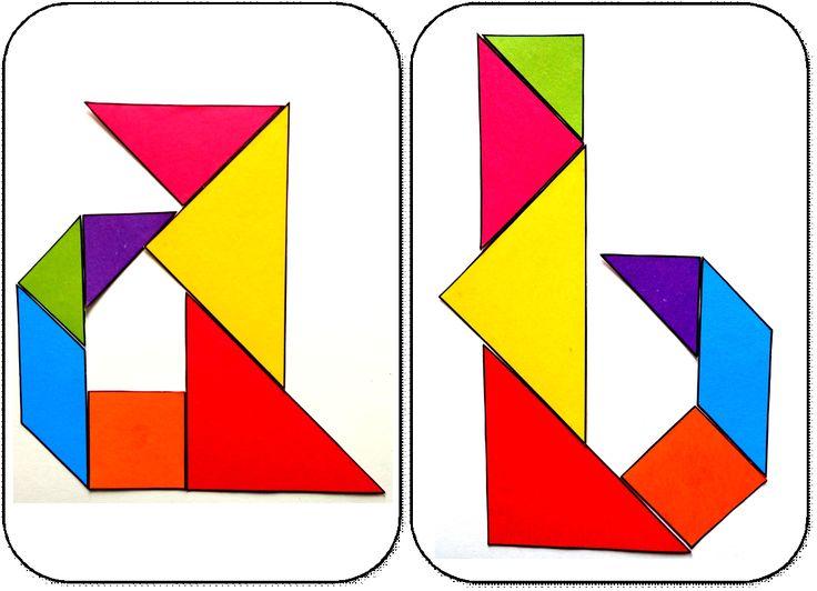 26 lettres de l'alphabet tangram gs lettres a et b