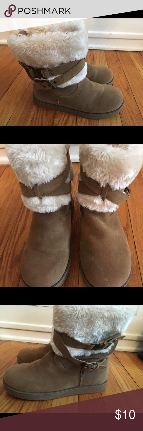 Guess Boots size 6.5 Worn once, super soft Guess winter boots. Has one scuff on toe, but can definitely be cleaned off. Size 6.5. Slip on and off - buckle detail can be tightened / loosened if needed. Guess Shoes Winter & Rain Boots