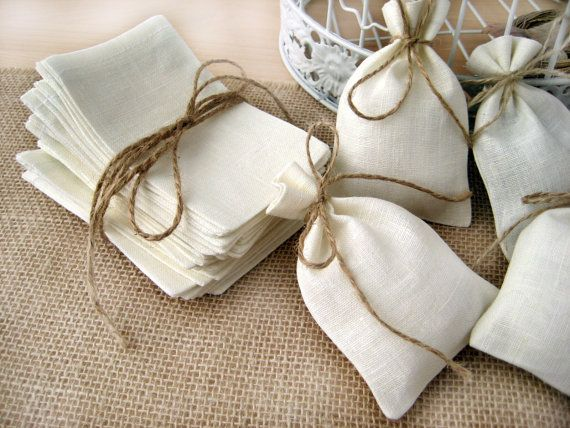 SET OF 80 Natural Rustic Linen Eco Wedding Favors Bag  with natural jute twine drawstring via Etsy