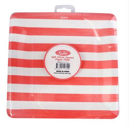 RED STRIPE Shmick Plates 23cm 6 pack $6.90