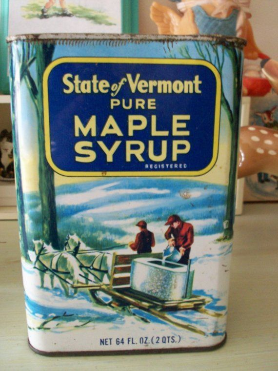 Old And Rusty Vermont Maple Syrup Tin Can  To Be Aunt