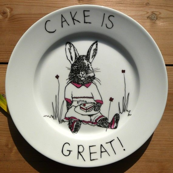 Hand drawn Side Plate  Cake is Great by jimbobart on Etsy, $37.50