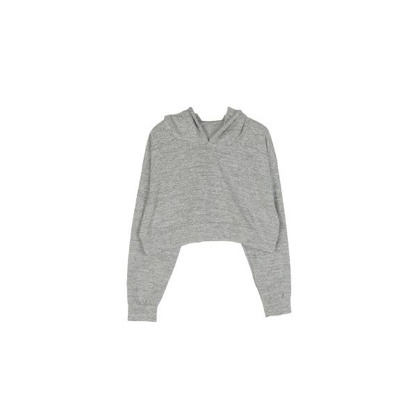 Grey Hooded Pullover Crop ($59) ❤ liked on Polyvore featuring tops, sweaters, shirts, crop top, crop shirts, pullover shirt, cropped sweater, shirt crop top and shirts & tops