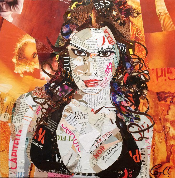 """Artist: Louich! Collage on canvas 2016 """"FireStarter"""" Louich.DeCournoye@gmail.com"""