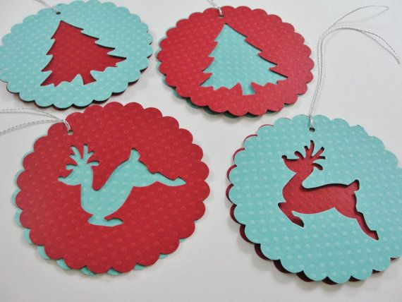 """Paper Christmas Tree Reindeer Scalloped Round Gift Tags, Red Teal Round Paper Holiday Reindeer Cut Outs, Large Christmas Gift Tags, 3 1/2"""" in diameter -Set of 4 by CutOutTheFun, $4.25"""