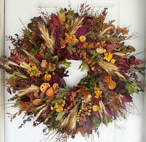 Beautiful wreath for fall. Will be perfect for the front door.