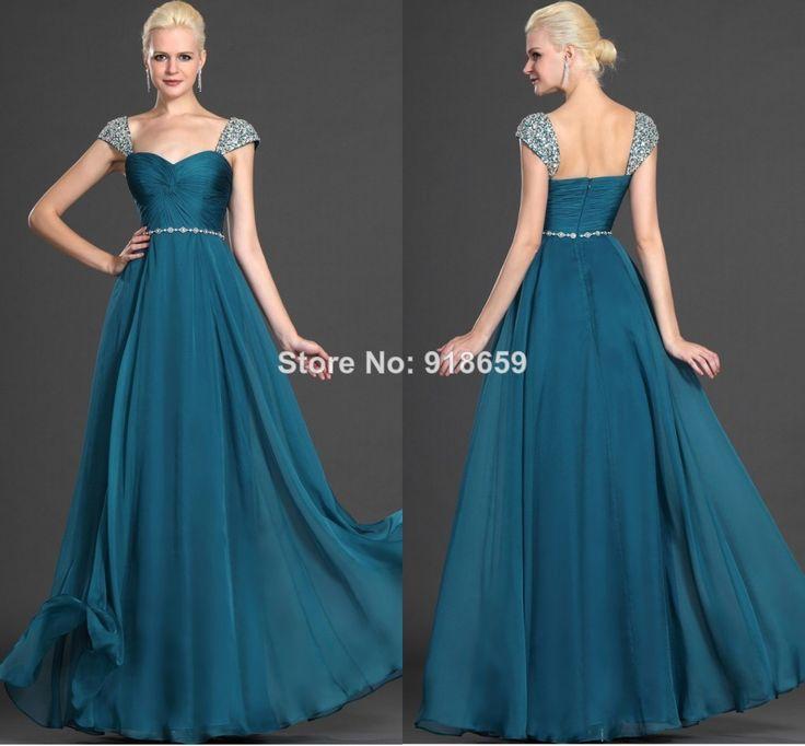 2014 Graceful ladies evening dress beading capped sleeves a-line chiffon floor length custom made prom dresses