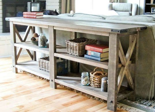 Nice beginner woodworking project for amateur furniture builders. DIY console table made with 2x4 boards