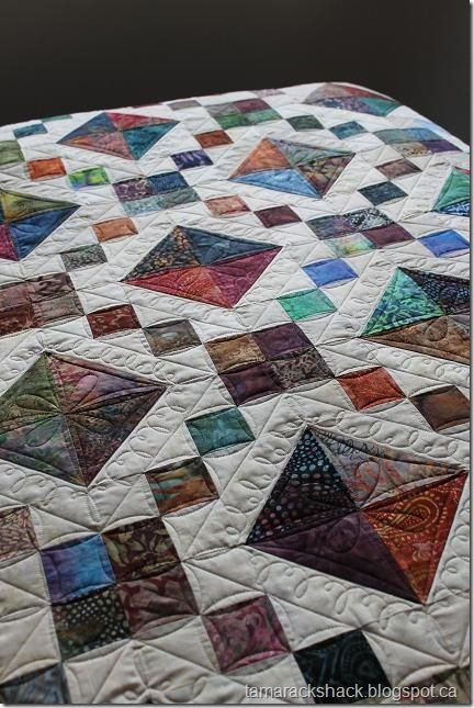Kathy's Jewel Box quilt - Tamarack Shack  I can see it using cream background and med. dk batiks.