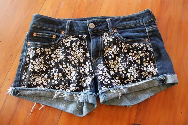 DIY Floral Shorts DIY clothes DIY Refashion