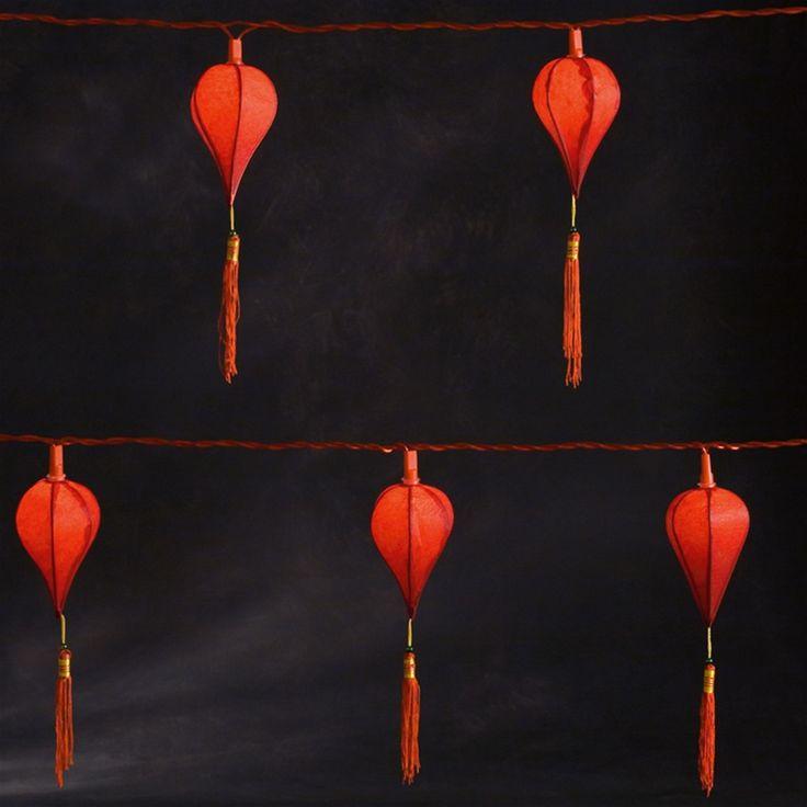 Konstsmide 1358-555 10 Red Chinese Lantern Festival Lights   Internet Gardener