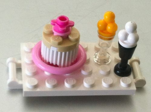 New Lego Minifig Food Friends White Dessert Tray White Cake and Ice Creams | eBay